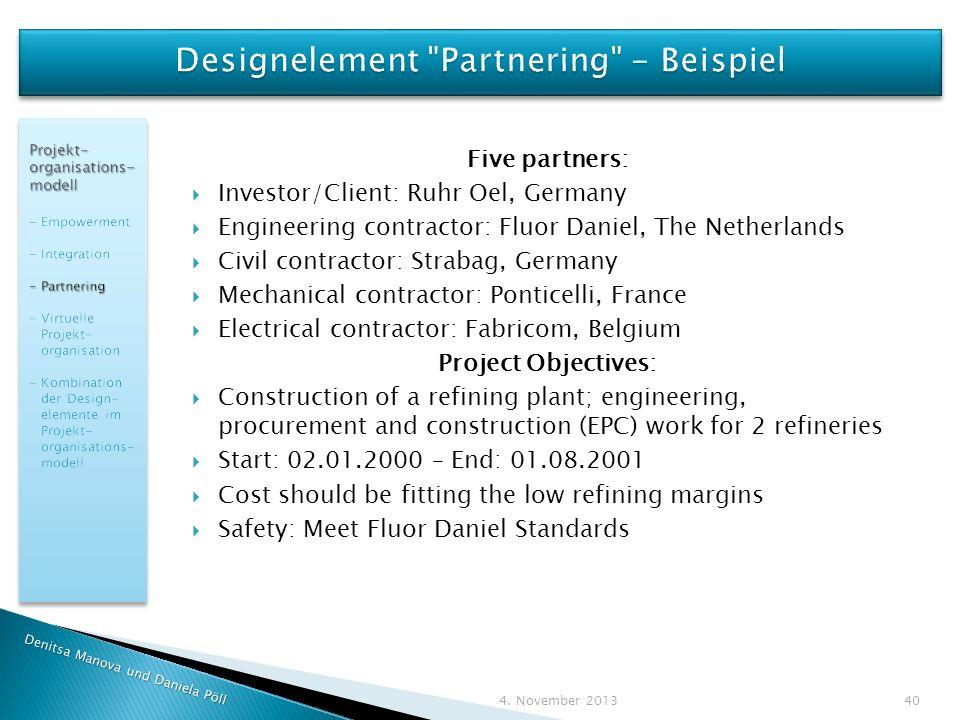 Designelement Partnering - Beispiel