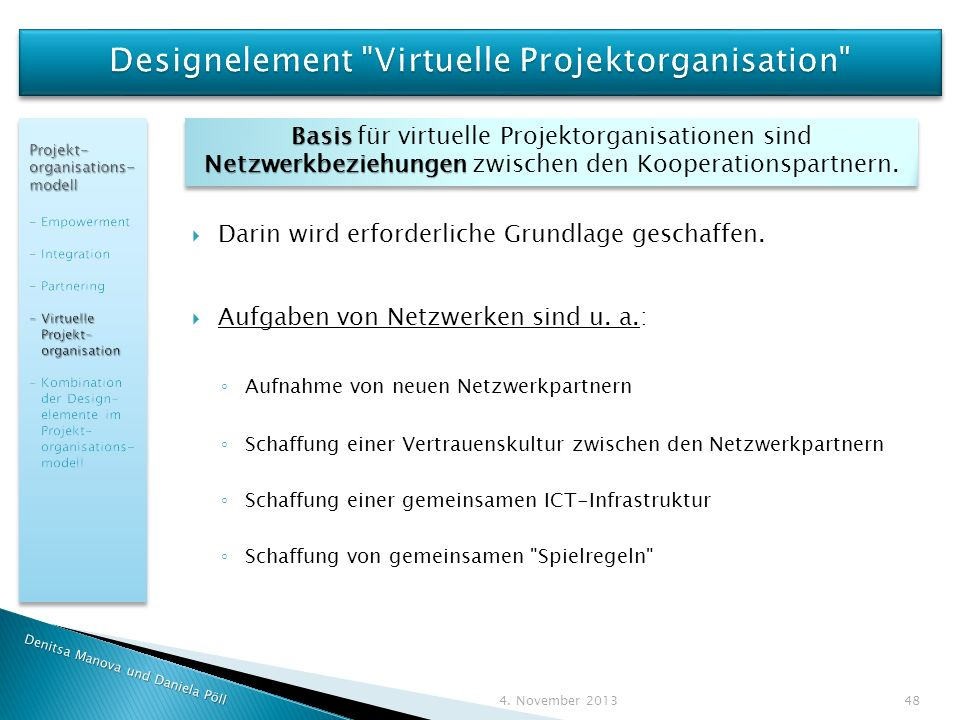 Designelement Virtuelle Projektorganisation
