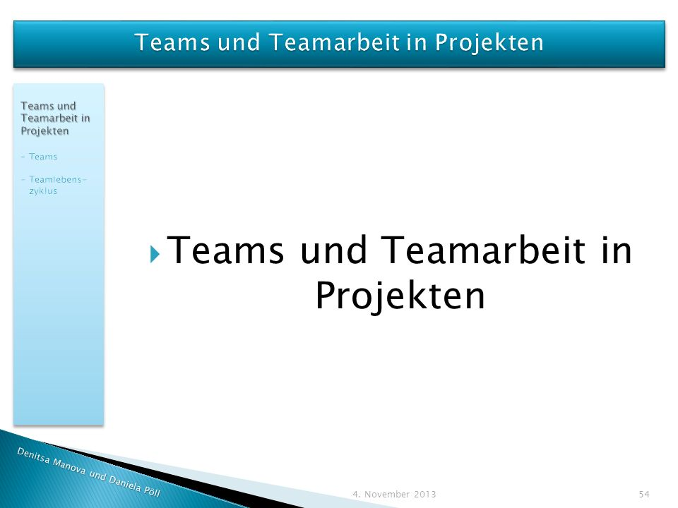 Teams und Teamarbeit in Projekten