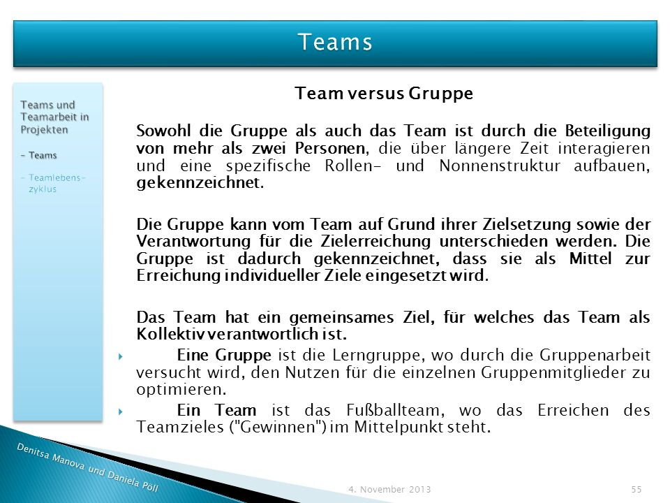 Teams Team versus Gruppe