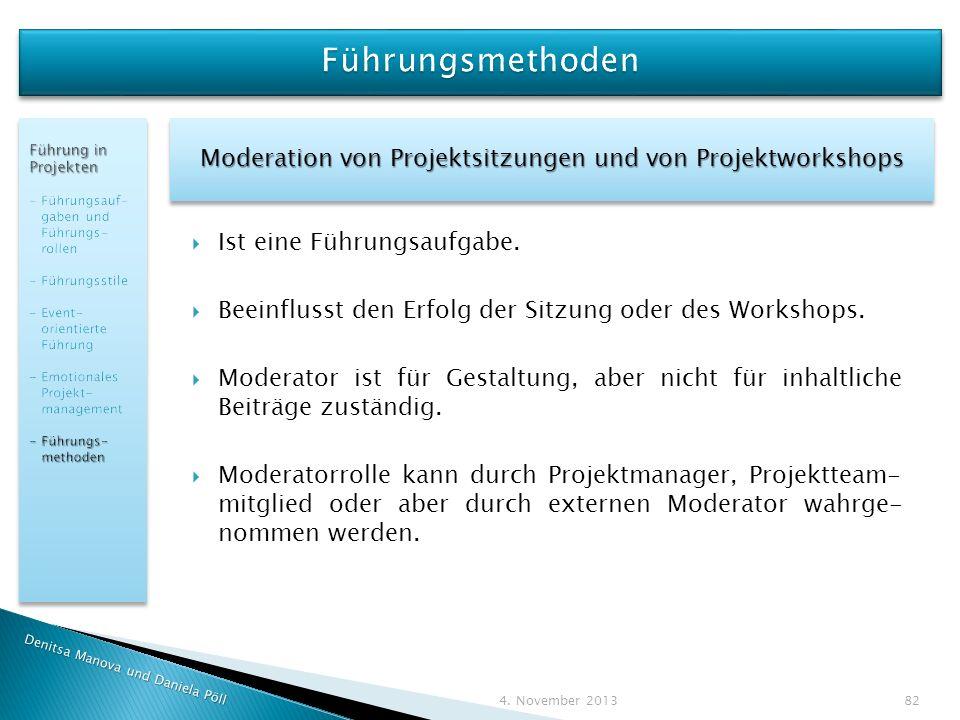 Moderation von Projektsitzungen und von Projektworkshops