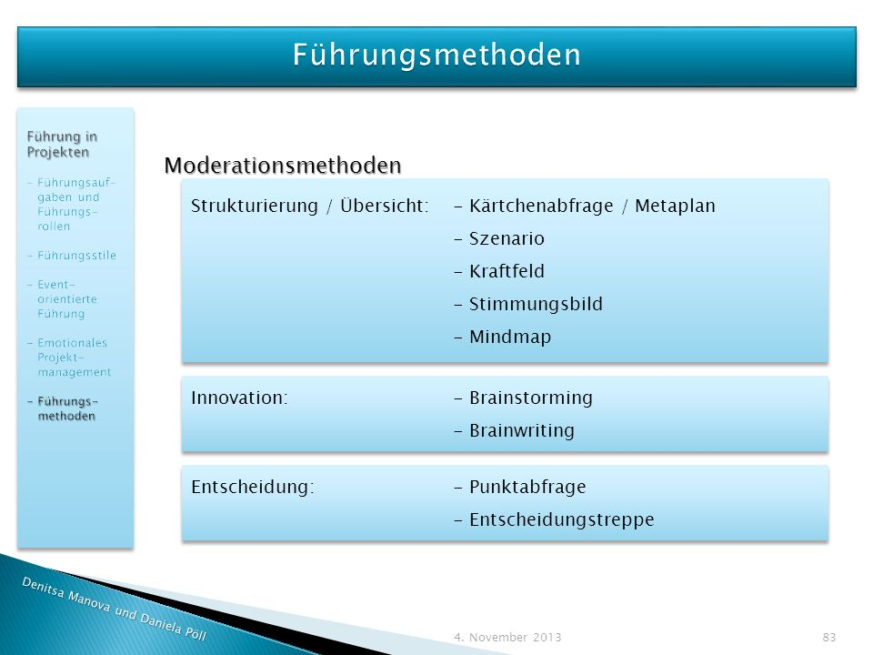 Führungsmethoden Moderationsmethoden