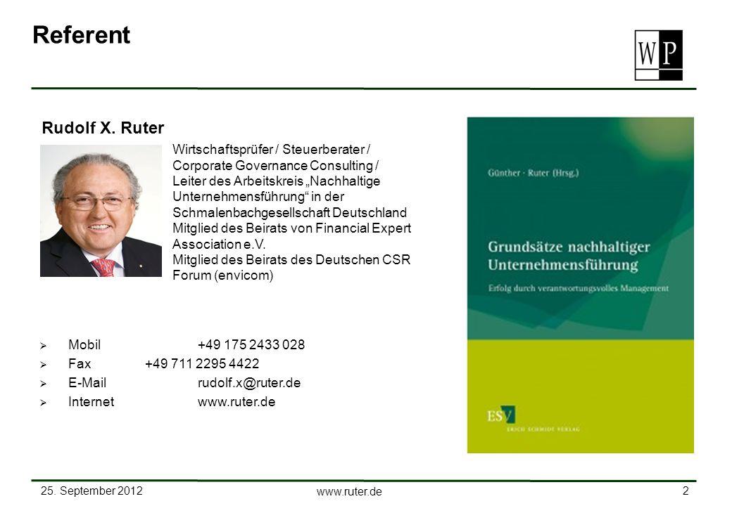 Referent Rudolf X. Ruter Wirtschaftsprüfer / Steuerberater /