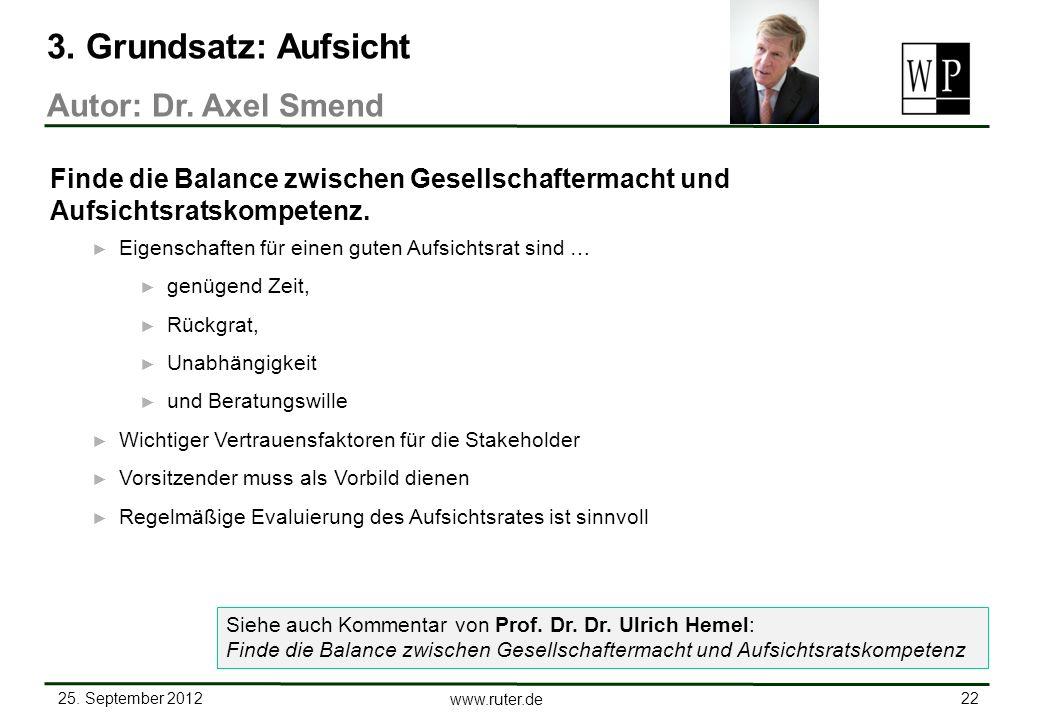 3. Grundsatz: Aufsicht Autor: Dr. Axel Smend