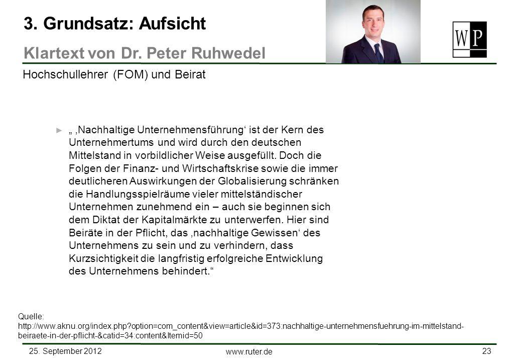3. Grundsatz: Aufsicht Klartext von Dr. Peter Ruhwedel