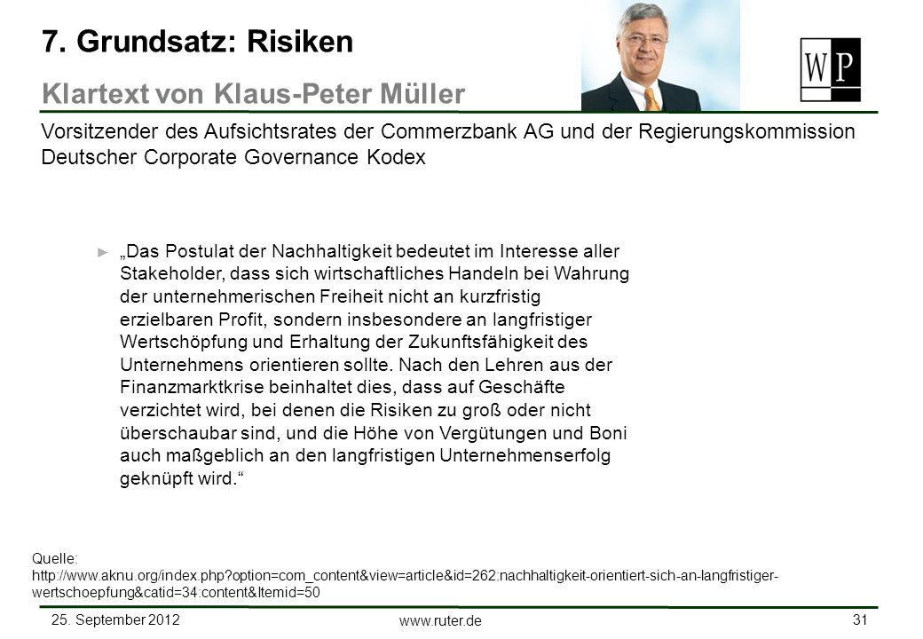 7. Grundsatz: Risiken Klartext von Klaus-Peter Müller