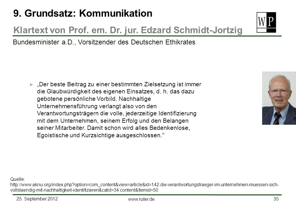 9. Grundsatz: Kommunikation