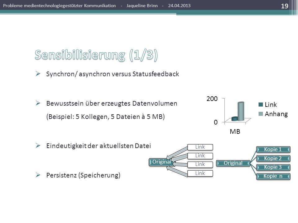Sensibilisierung (1/3) Synchron/ asynchron versus Statusfeedback