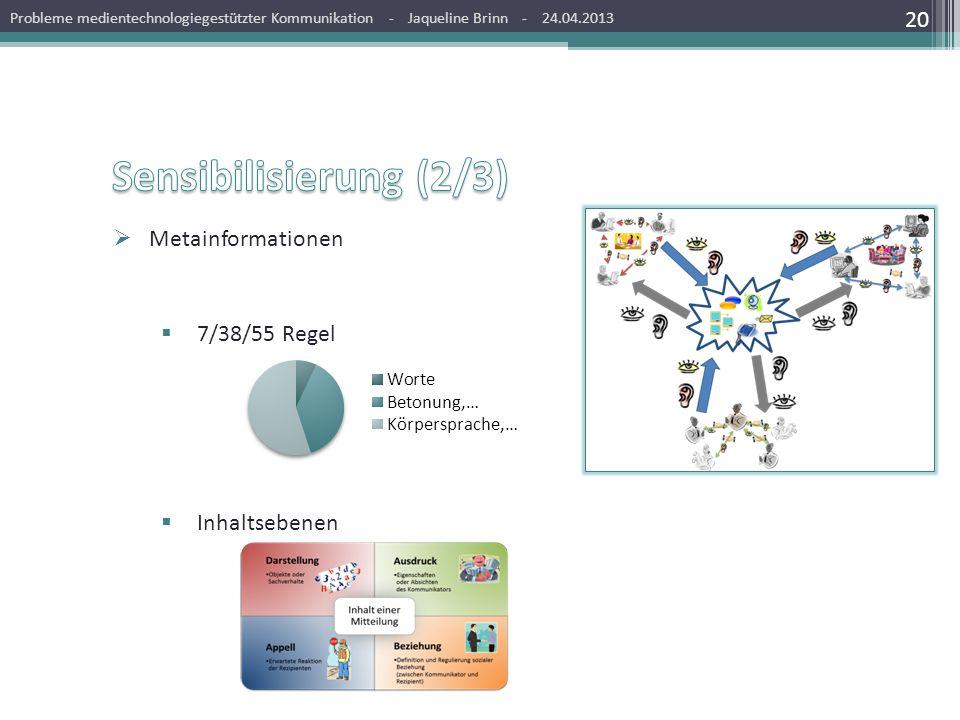 Sensibilisierung (2/3) Metainformationen 7/38/55 Regel Inhaltsebenen