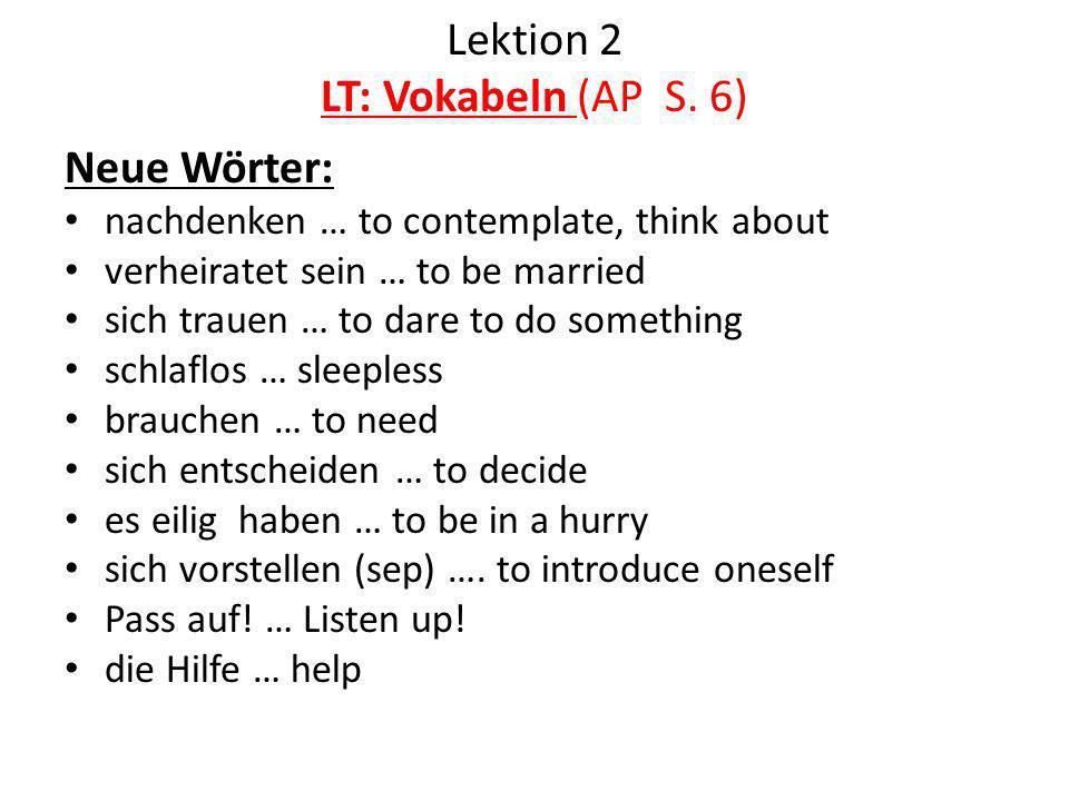 Lektion 2 LT: Vokabeln (AP S. 6)