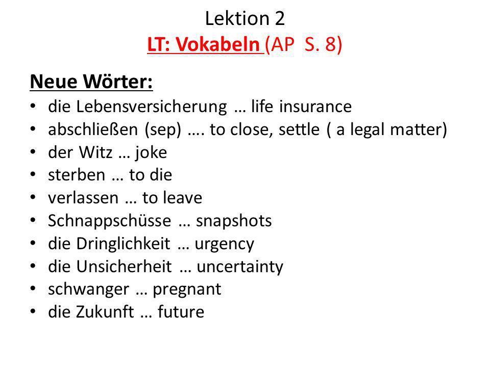 Lektion 2 LT: Vokabeln (AP S. 8)