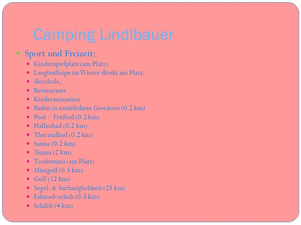 Camping Lindlbauer Sport und Freizeit: Kinderspielplatz (am Platz)
