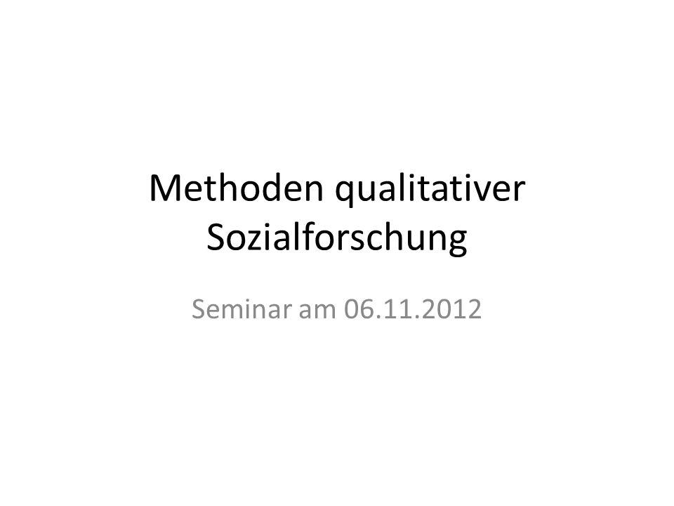 Methoden qualitativer Sozialforschung