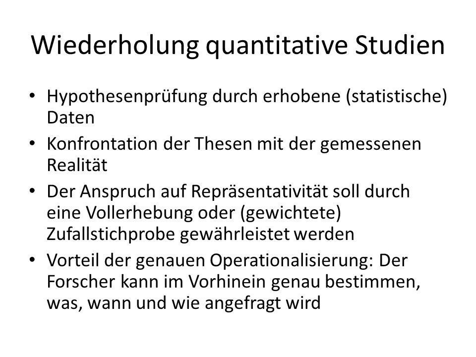 Wiederholung quantitative Studien