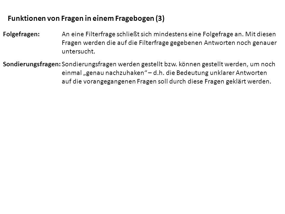 Funktionen von Fragen in einem Fragebogen (3)