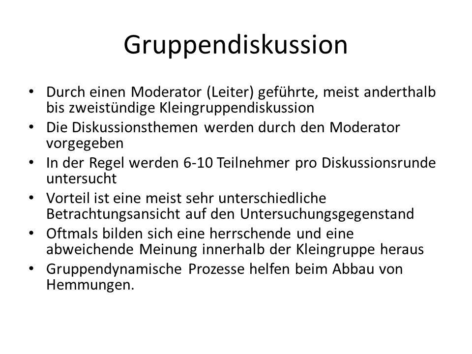 Gruppendiskussion Durch einen Moderator (Leiter) geführte, meist anderthalb bis zweistündige Kleingruppendiskussion.