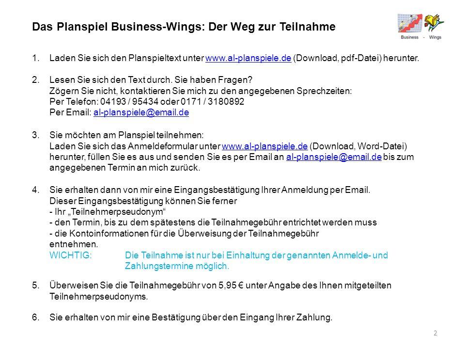 Das Planspiel Business-Wings: Der Weg zur Teilnahme