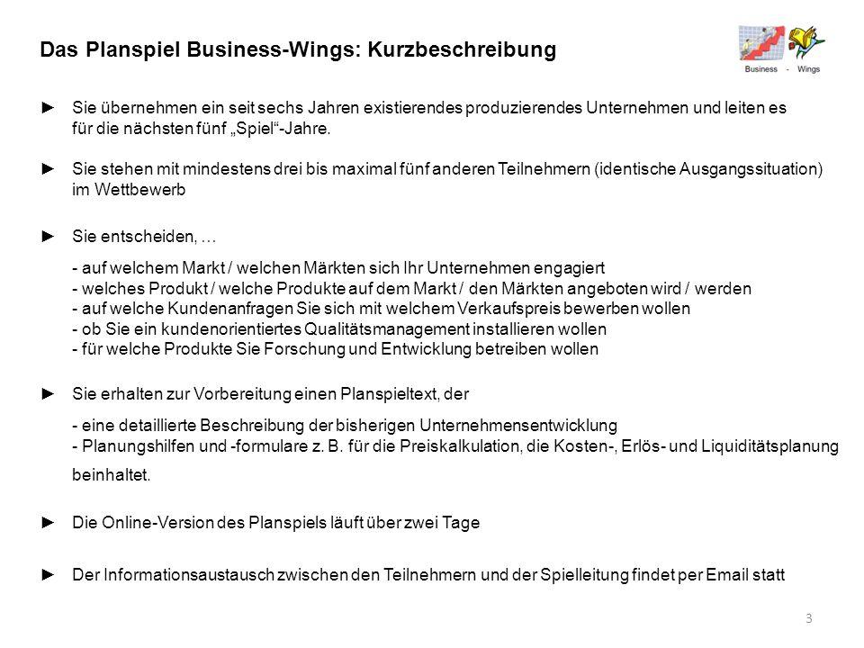 Das Planspiel Business-Wings: Kurzbeschreibung