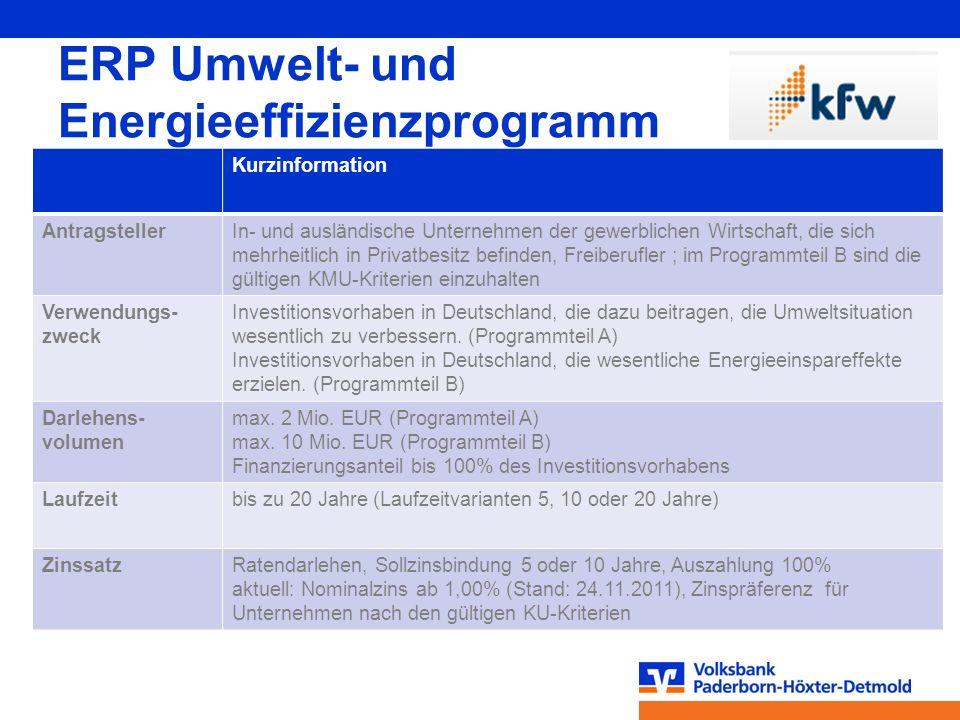 ERP Umwelt- und Energieeffizienzprogramm