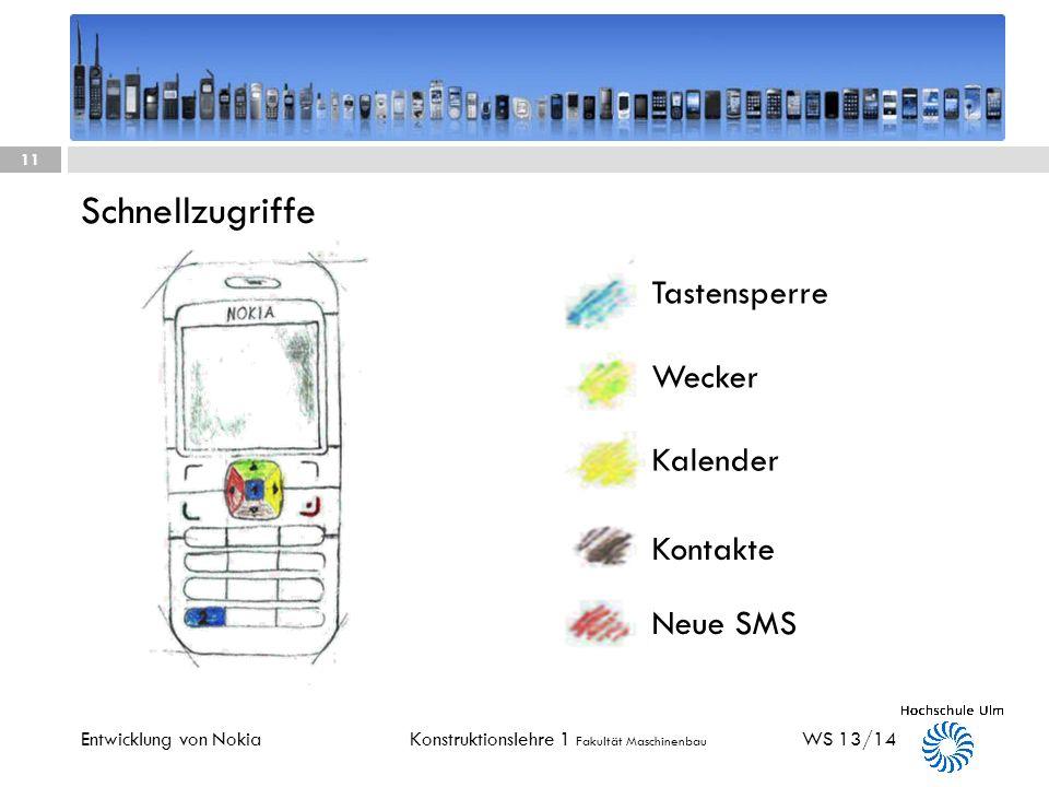 Schnellzugriffe Tastensperre Wecker Kalender Kontakte Neue SMS