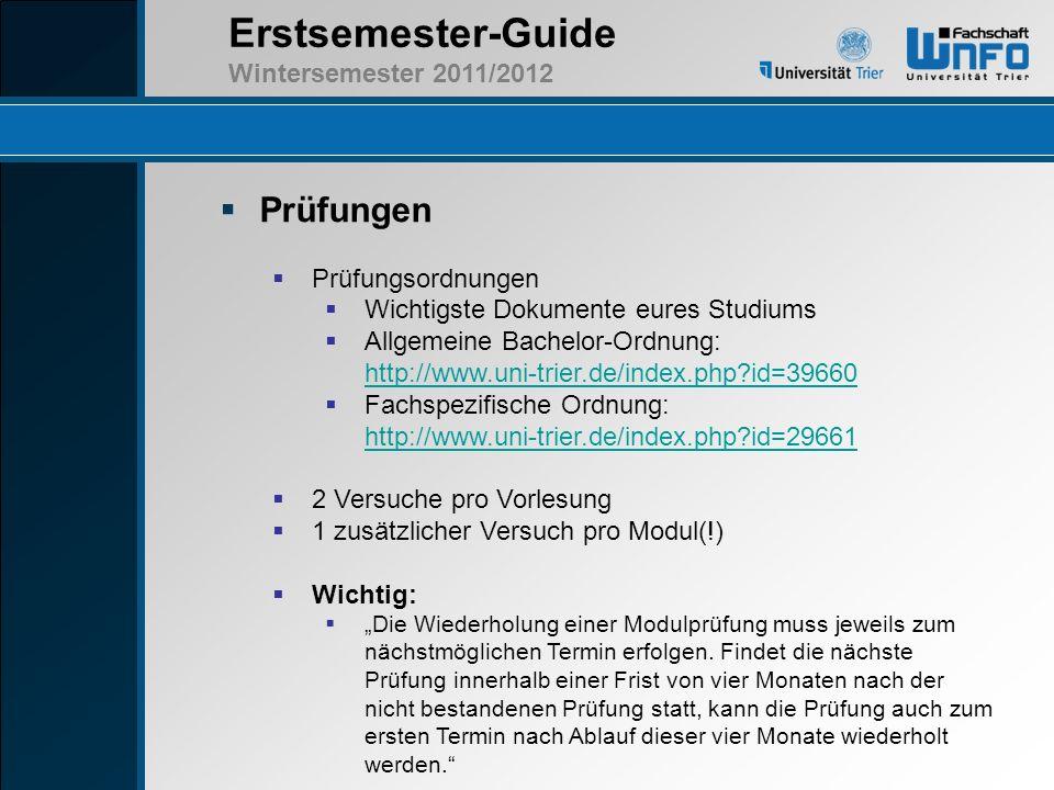 Prüfungen Prüfungsordnungen Wichtigste Dokumente eures Studiums