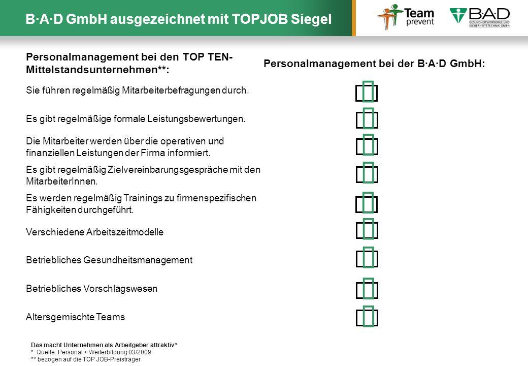 ü ü ü ü ü ü ü ü ü B·A·D GmbH ausgezeichnet mit TOPJOB Siegel