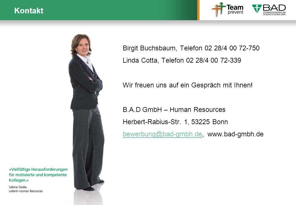 Kontakt Birgit Buchsbaum, Telefon 02 28/4 00 72-750