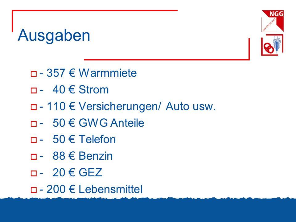 Ausgaben - 357 € Warmmiete - 40 € Strom