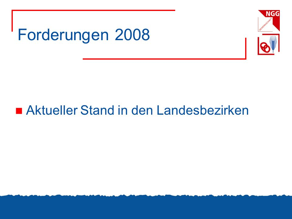 Forderungen 2008 Aktueller Stand in den Landesbezirken