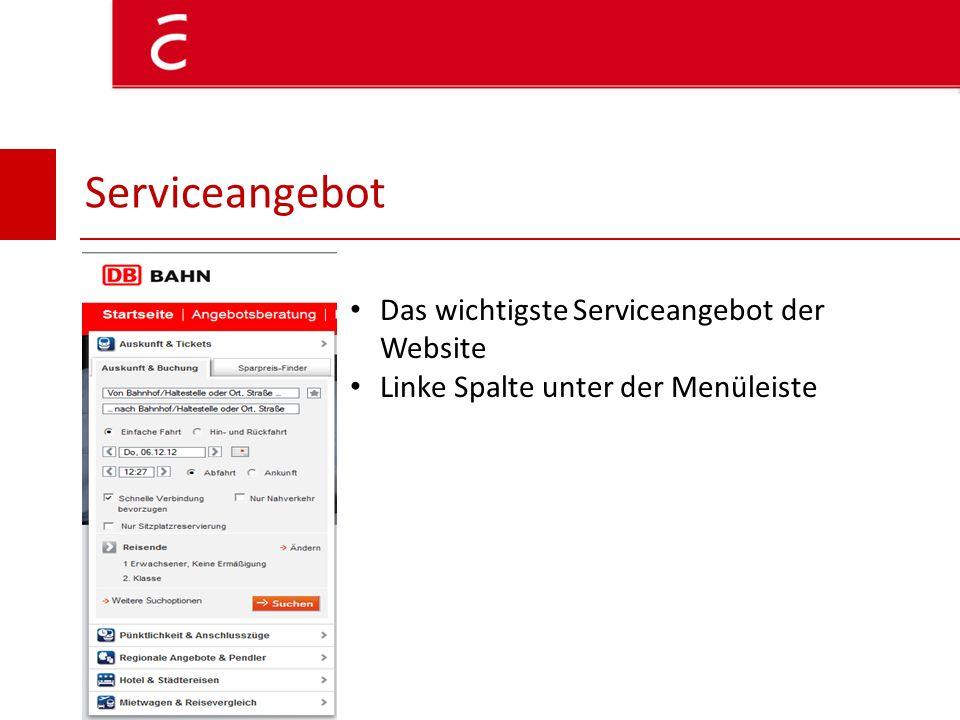 Serviceangebot Das wichtigste Serviceangebot der Website