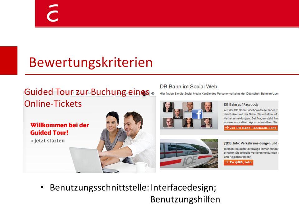 Bewertungskriterien Guided Tour zur Buchung eines Online-Tickets