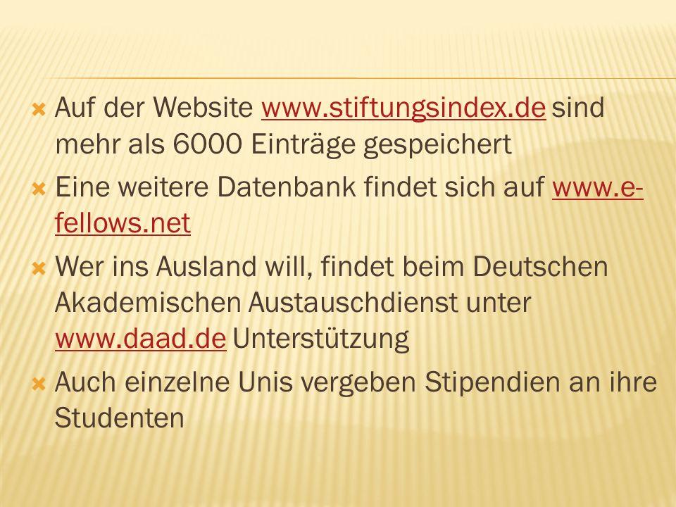 Auf der Website www. stiftungsindex