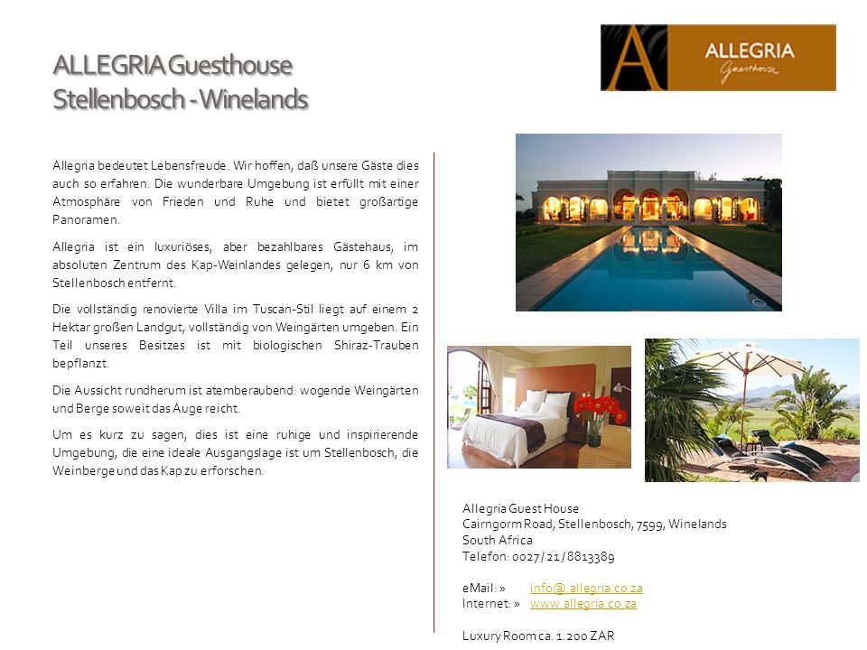 ALLEGRIA Guesthouse Stellenbosch - Winelands