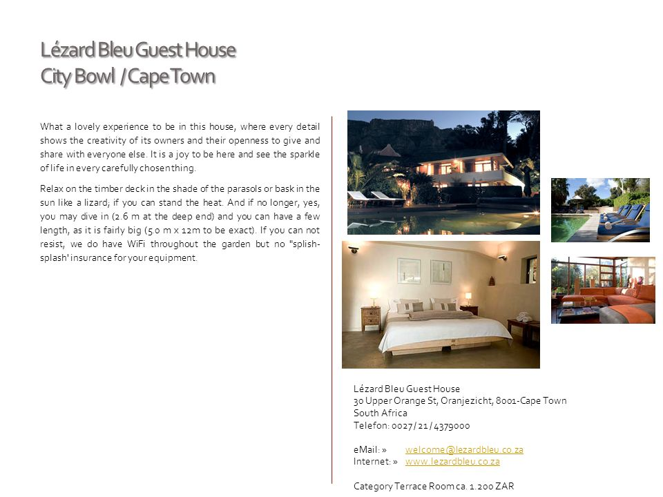 Lézard Bleu Guest House City Bowl / Cape Town