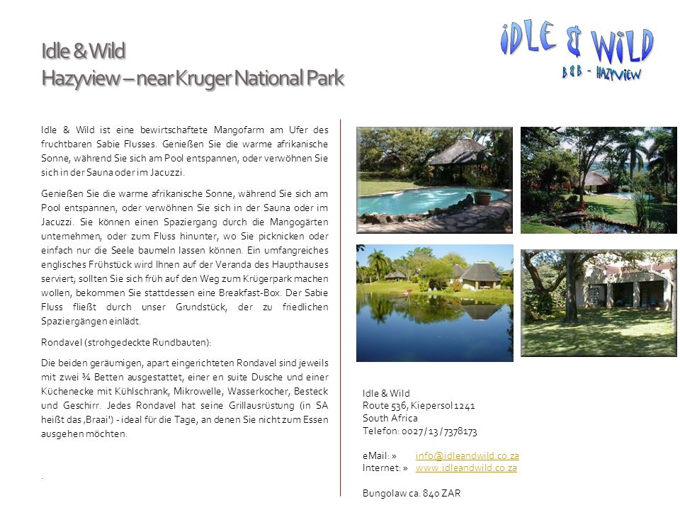 Idle & Wild Hazyview – near Kruger National Park