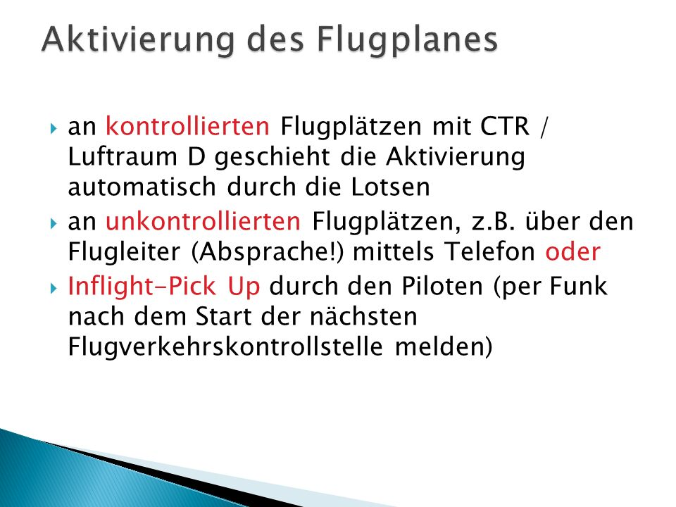 Aktivierung des Flugplanes