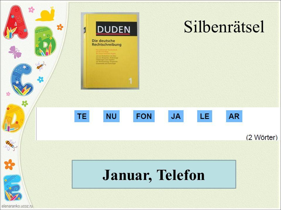 Silbenrätsel Januar, Telefon