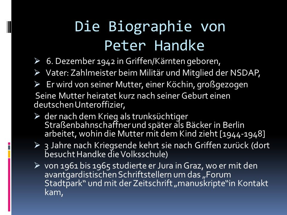 Die Biographie von Peter Handke