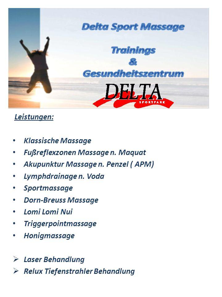Leistungen: Klassische Massage. Fußreflexzonen Massage n. Maquat. Akupunktur Massage n. Penzel ( APM)