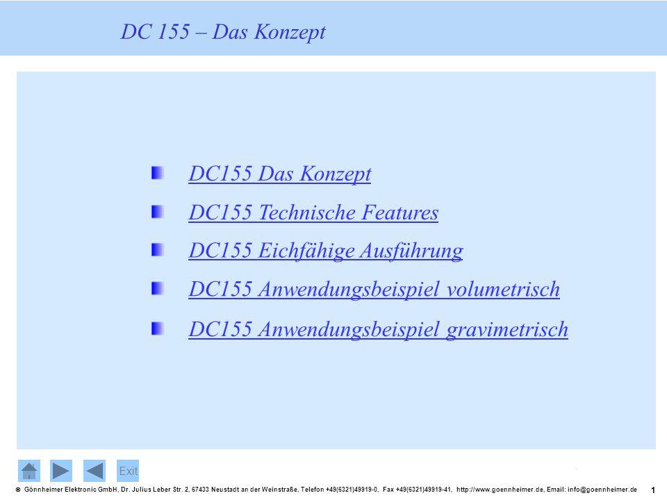 DC 155 – Das Konzept DC155 Das Konzept. DC155 Technische Features. DC155 Eichfähige Ausführung. DC155 Anwendungsbeispiel volumetrisch.