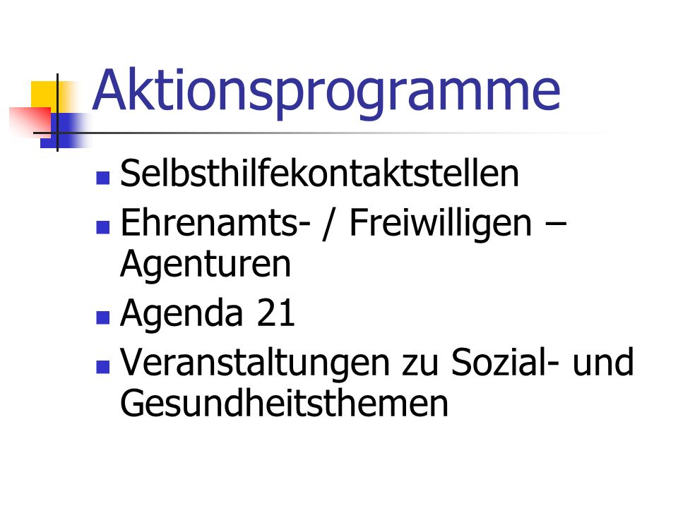 Aktionsprogramme Selbsthilfekontaktstellen
