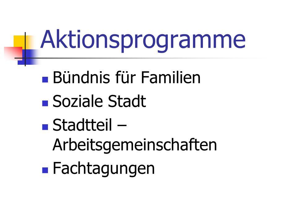 Aktionsprogramme Bündnis für Familien Soziale Stadt