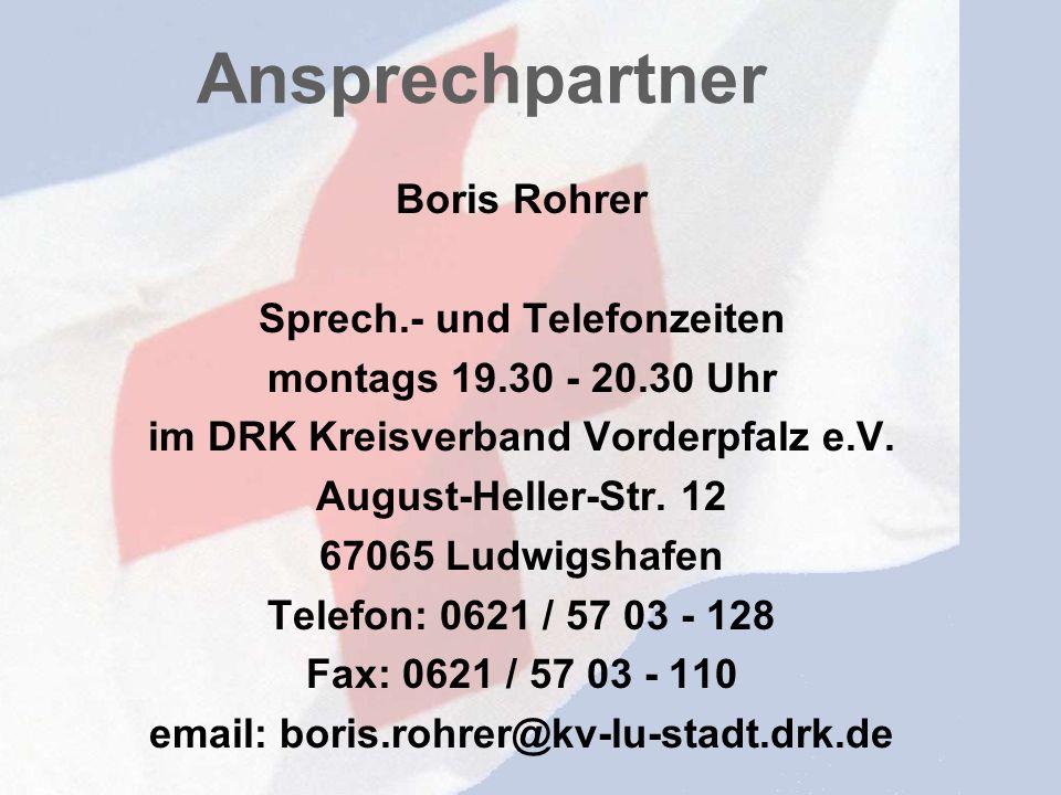 Ansprechpartner Boris Rohrer Sprech.- und Telefonzeiten