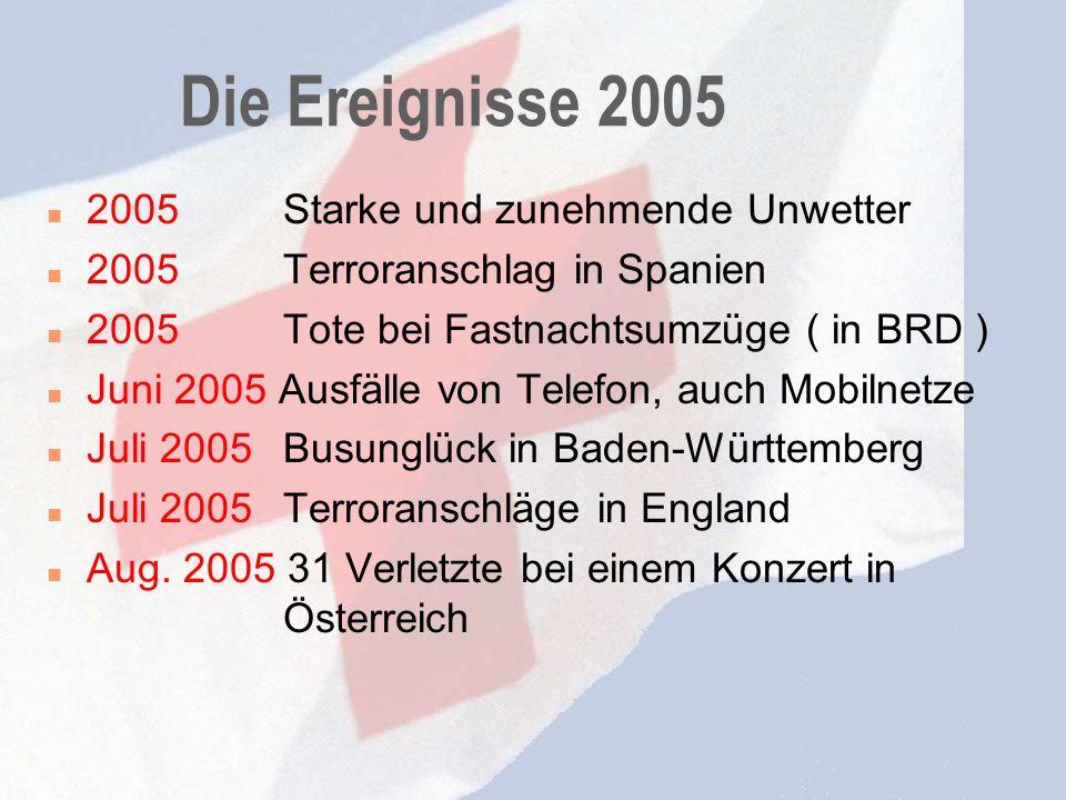 Die Ereignisse 2005 2005 Starke und zunehmende Unwetter