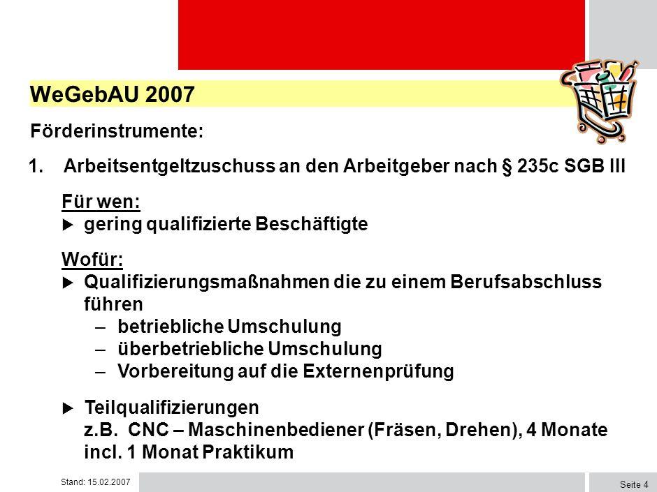 WeGebAU 2007 Förderinstrumente: