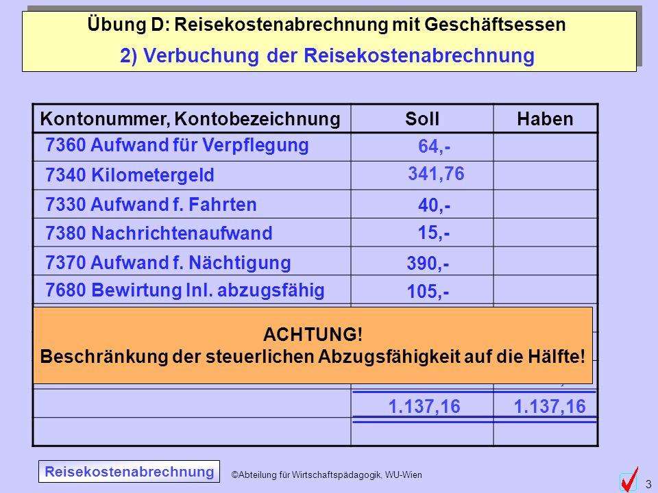 2) Verbuchung der Reisekostenabrechnung