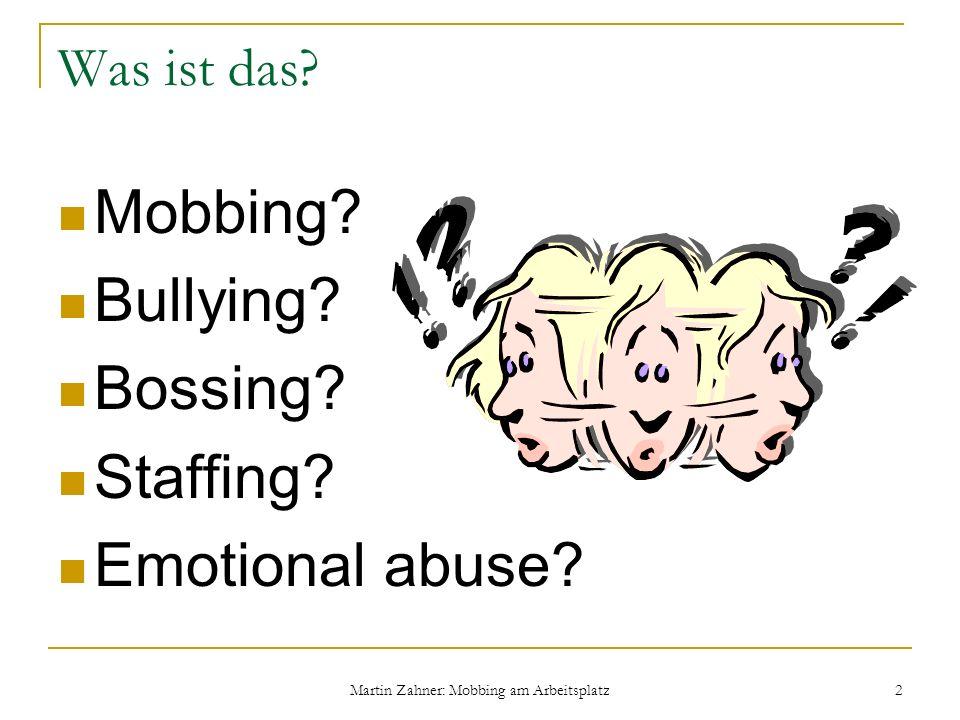 Martin Zahner: Mobbing am Arbeitsplatz