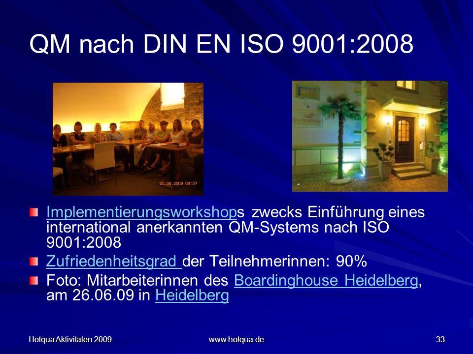 QM nach DIN EN ISO 9001:2008 Implementierungsworkshops zwecks Einführung eines international anerkannten QM-Systems nach ISO 9001:2008.