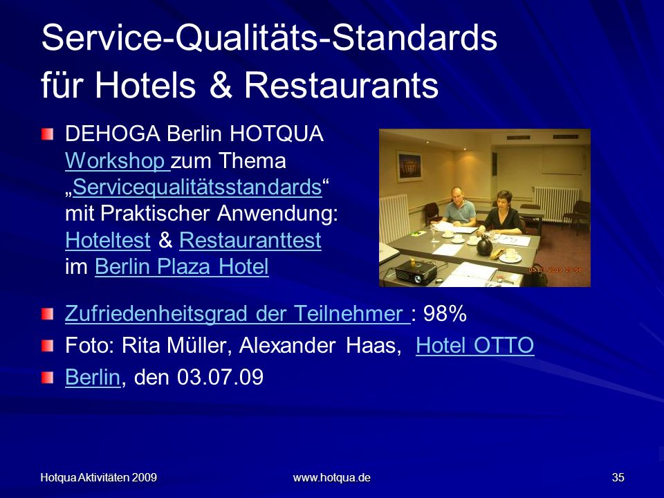 Service-Qualitäts-Standards für Hotels & Restaurants