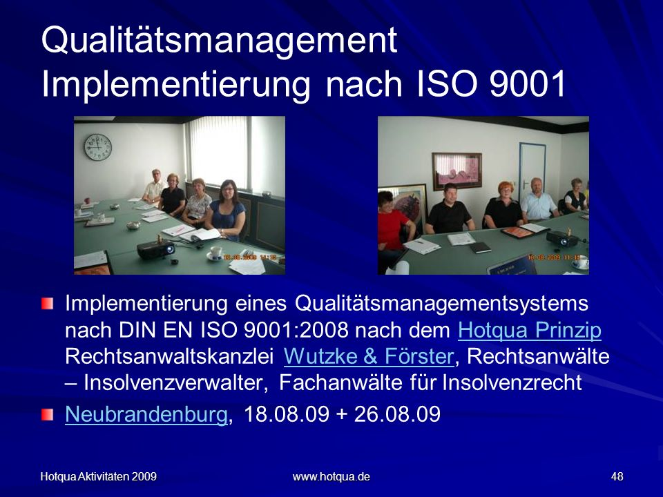 Qualitätsmanagement Implementierung nach ISO 9001